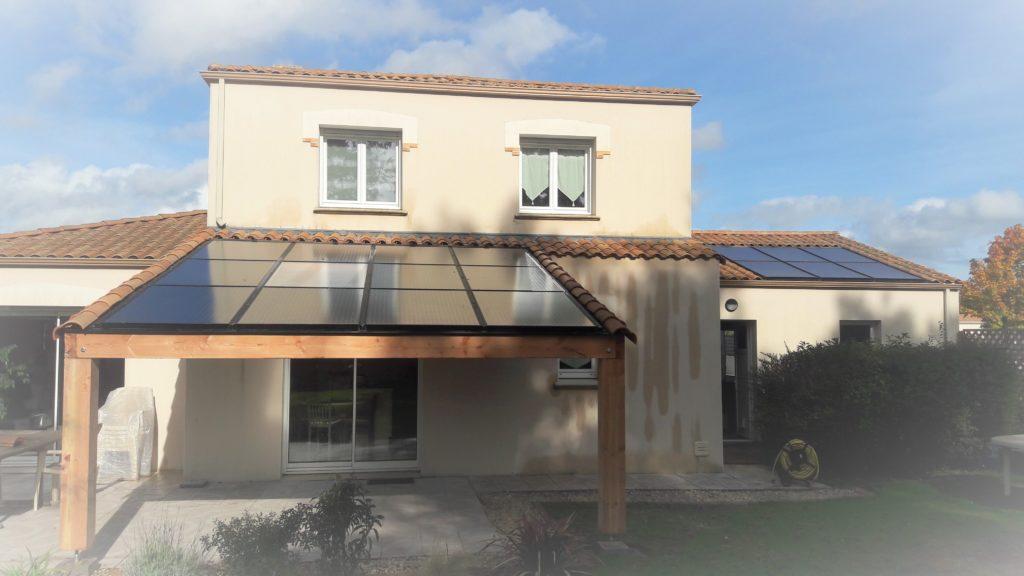 toiture photovoltaïque après construction d'un carport bois